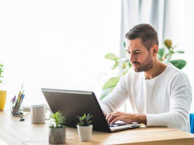 man using business fiber internet